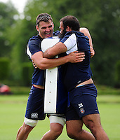 David Sisi and Kane Palma-Newport of Bath Rugby in action. Bath Rugby pre-season training session on August 9, 2016 at Farleigh House in Bath, England. Photo by: Patrick Khachfe / Onside Images