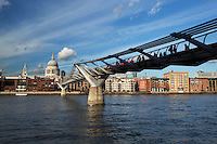 Great Britain, London: Millenium Bridge, 330 metre steel structure opened in 2002, spanning the River Thames, designed by Sir Norman Foster