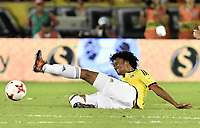BARRANQUILLA - COLOMBIA - 05-10-2017:  Juan G Cuadrado jugador de Colombia en acción durante partido entre Colombia y Paraguay por la fecha 17 de la clasificatoria a la Copa Mundial de la FIFA Rusia 2018 jugado en el estadio Metropolitano Roberto Melendez en Barranquilla. / Juan G Cuadrado player of Colombia in action during the match between Colombia and Paraguay for the date 17 of the qualifier to FIFA World Cup Russia 2018 played at Metropolitan stadium Roberto Melendez in Barranquilla. Photo: VizzorImage/ Gabriel Aponte / Staff