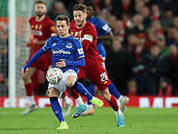 5th January 2020; Anfield, Liverpool, Merseyside, England; English FA Cup Football, Liverpool versus Everton; Bernard of Everton controls the ball under pressure from Adam Lallana of Liverpool - Strictly Editorial Use Only. No use with unauthorized audio, video, data, fixture lists, club/league logos or 'live' services. Online in-match use limited to 120 images, no video emulation. No use in betting, games or single club/league/player publications