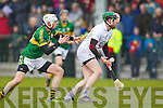 Shane Nolan Kerry in action against Eanna O'Neill Kildare in the National Hurling League at Abbeydorney on Sunday.