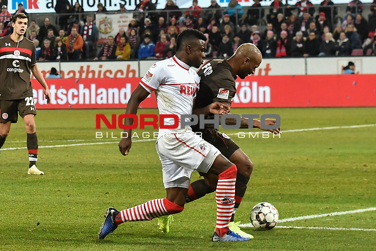08.02.2019, Rheinenergiestadion, K&ouml;ln, GER, DFL, 2. BL, VfL 1. FC Koeln vs FC St. Pauli, DFL regulations prohibit any use of photographs as image sequences and/or quasi-video<br /> <br /> im Bild v. li. im Zweikampf im Strafraum Jhon Cordoba (#15, 1.FC K&ouml;ln / Koeln)  Christopher Avevor (#6, FC St. Pauli)<br /> <br /> Foto &copy; nph/Mauelshagen