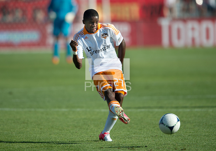 July 28, 2012: Houston Dynamo midfielder Boniek Garcia #27 in action during a game between Toronto FC and the Houston Dynamo at BMO Field in Toronto, Ontario Canada..The Houston Dynamo won 2-0.