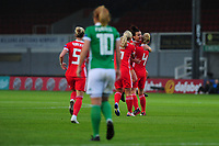 Angharad James (2nd right) of Wales celebrates scoring her side's equalising goal to make the score 1-1 during the UEFA Womens Euro Qualifier match between Wales and Northern Ireland at Rodney Parade in Newport, Wales, UK. Tuesday 03, September 2019