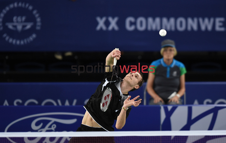 Wales Daniel Font in action against India's Srikanth Kidambi<br /> <br /> Photographer Ian Cook/Sportingwales<br /> <br /> 20th Commonwealth Games -Badminton -  Day 7 - Wednesday 30th July 2014 - Glasgow - UK