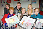 Jo Collier, Hannah Thomas, Mae Reidy. Back row: Alan Reen, Harry Cunningham and Aine Jenkins from the 21+Vat art group and teenagers from the KDYS who showed their paintings in the What Mental Health Means to me art exhibition in Ballyspillane Resource Centre, Killarney on Thursday evening.