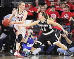 SIOUX FALLS, SD: MARCH 5: Michaela Dapprich #44 of Omaha reaches on Abigail Fogg #44 of South Dakota during the Summit League Basketball Championship on March 5, 2017 at the Denny Sanford Premier Center in Sioux Falls, SD. (Photo by Dick Carlson/Inertia)