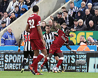 Liverpool's Sadio Mane is fouled by Newcastle United's Javi Manquillo<br /> <br /> Photographer Rich Linley/CameraSport<br /> <br /> The Premier League -  Newcastle United v Liverpool - Sunday 1st October 2017 - St James' Park - Newcastle<br /> <br /> World Copyright &copy; 2017 CameraSport. All rights reserved. 43 Linden Ave. Countesthorpe. Leicester. England. LE8 5PG - Tel: +44 (0) 116 277 4147 - admin@camerasport.com - www.camerasport.com