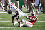 Wisconsin Badgers linebacker Leon Jacobs (32) tackles Florida Atlantic Owls running back Devin Singletary (5) during an NCAA College Football game Saturday, September 9, 2017, in Madison, Wis. The Badgers won 31-14. (Photo by David Stluka)