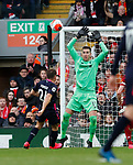Ryan Fraser of Bournemouth lobs Adrian of Liverpool  during the Premier League match at Anfield, Liverpool. Picture date: 7th March 2020. Picture credit should read: Darren Staples/Sportimage