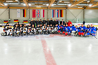 19th November 2019, Berlin, Germany. World Para Ice Hockey Championships, Germany versus Great Britain;    Group Photo of the Teams from Germany and United Kingdom