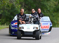 Aug 20, 2016; Brainerd, MN, USA; Crew members for NHRA pro stock driver Jason Line during qualifying for the Lucas Oil Nationals at Brainerd International Raceway. Mandatory Credit: Mark J. Rebilas-USA TODAY Sports