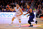 Turkish Airlines Euroleague 2017/2018.<br /> Regular Season - Round 23.<br /> FC Barcelona Lassa vs R. Madrid: 74-101.<br /> Facundo Campazzo vs Phil Pressey.
