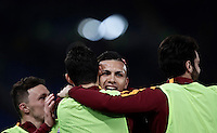 Calcio, Serie A: Roma, stadio Olimpico, 19 febbraio 2017.<br /> Roma&rsquo;s Leandro Paredes (c) celebrates with his teammates Mario Rui, Diego Perotti and Cl&eacute;ment Grenier after scoring during the Italian Serie A football match between As Roma and Torino at Rome's Olympic stadium, on February 19, 2017.<br /> UPDATE IMAGES PRESS/Isabella Bonotto