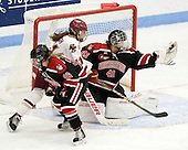 Ann Doherty (Northeastern - 16), Caitlin Walsh (BC - 11), Florence Schelling (Northeastern - 41) - The Northeastern University Huskies defeated the Boston College Eagles in a shootout on Monday, January 31, 2012, in the opening round of the 2012 Women's Beanpot at Walter Brown Arena in Boston, Massachusetts. The game is considered a 1-1 tie for NCAA purposes.