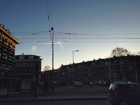 Early morning contrails in the Jordaan neighbourhood.<br />
