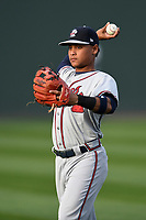 Second baseman Derian Cruz (7) of the Rome Braves warms up before a game against the Greenville Drive on Saturday, April 14, 2018, at Fluor Field at the West End in Greenville, South Carolina. Rome won, 4-0. (Tom Priddy/Four Seam Images)