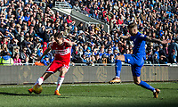 Stewart Downing of Middlesbrough crosses under pressure from Joe Bennett of Cardiff City during the Sky Bet Championship match between Cardiff City and Middlesbrough at the Cardiff City Stadium, Cardiff, Wales on 17 February 2018. Photo by Mark Hawkins / PRiME Media Images.