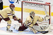 Tommy Cross (BC - 4), Parker Milner (BC - 35) - The Boston College Eagles defeated the University of Minnesota Duluth Bulldogs 4-0 to win the NCAA Northeast Regional on Sunday, March 25, 2012, at the DCU Center in Worcester, Massachusetts.
