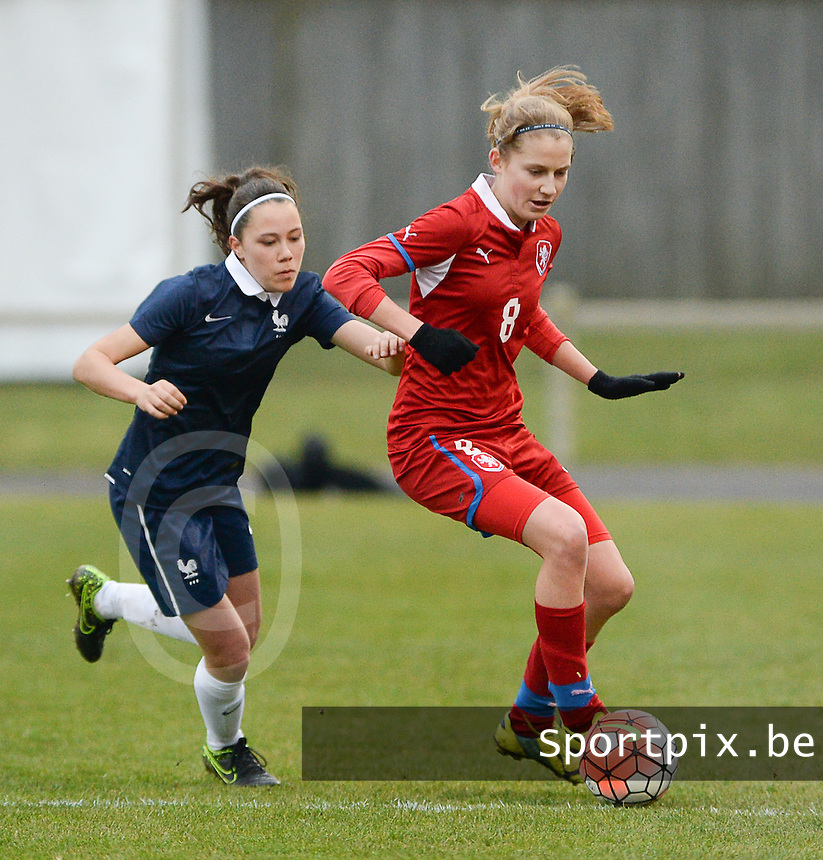20160319 - FLERS , FRANCE : French Marion Rey (L) and Czech Kamila Dubcova (R) pictured during the soccer match between the women under 17 teams of  France and the Czech Republic , on the first matchday in group 3 of the UEFA Women Under17 Elite rounds at Stade du Haze in Flers , France . Saturday 19th March 2016 . PHOTO DAVID CATRY