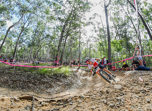 12th April 2018, Nerang Mountain Bike Trails, Gold Coast, Australia; Commonwealth Games day 8; Frazer Clacherty of England competes during the Men's Cross-country Cycling Mountain Bike Race