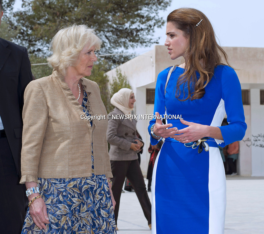 """CAMIILA, DUCHESS OF CORNWALL AND QUEEN RANIA.visit Mahes Secondary School for Girls, Amman_12/03/2013.The Royal couple are on a tour of four Middle Eastern countries..Mandatory credit photo:©DiasImages/NEWSPIX INTERNATIONAL..**ALL FEES PAYABLE TO: """"NEWSPIX INTERNATIONAL""""**..PHOTO CREDIT MANDATORY!!: NEWSPIX INTERNATIONAL(Failure to credit will incur a surcharge of 100% of reproduction fees)..IMMEDIATE CONFIRMATION OF USAGE REQUIRED:.Newspix International, 31 Chinnery Hill, Bishop's Stortford, ENGLAND CM23 3PS.Tel:+441279 324672  ; Fax: +441279656877.Mobile:  0777568 1153.e-mail: info@newspixinternational.co.uk"""