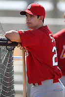 March 19, 2010:  Catcher Robert Stock of the St. Louis Cardinals organization during Spring Training at the Roger Dean Stadium Complex in Jupiter, FL.  Photo By Mike Janes/Four Seam Images
