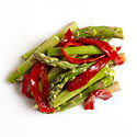 raw vegetables including asparagus and red pepper