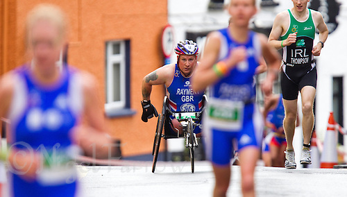 03 JUL 2010 - ATHLONE, IRL - Alan Rayment pushes hard to reach the top of the hill at the European Paratriathlon Championships (PHOTO (C) NIGEL FARROW)