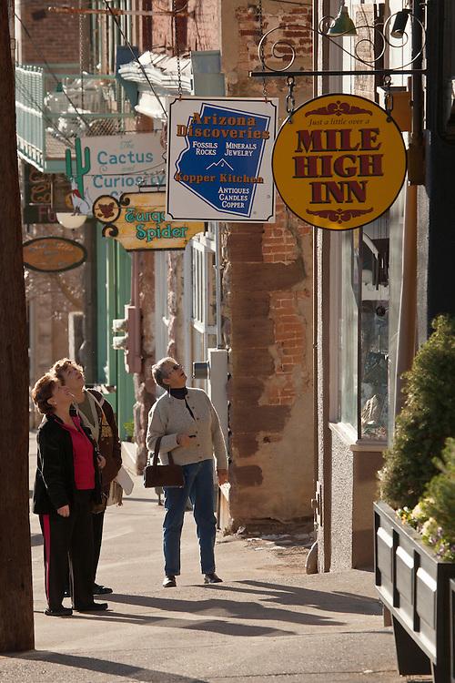 Tourists explore the streets of Jerome, Arizona