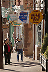 Tourists explore the streets of Jerome, Arizona