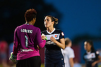 Sky Blue FC forward Kelley O'Hara (19) talks with Portland Thorns goalkeeper Karina LeBlanc (1) after the match. Sky Blue FC and the Portland Thorns played to a 0-0 tie during a National Women's Soccer League (NWSL) match at Yurcak Field in Piscataway, NJ, on June 22, 2013.