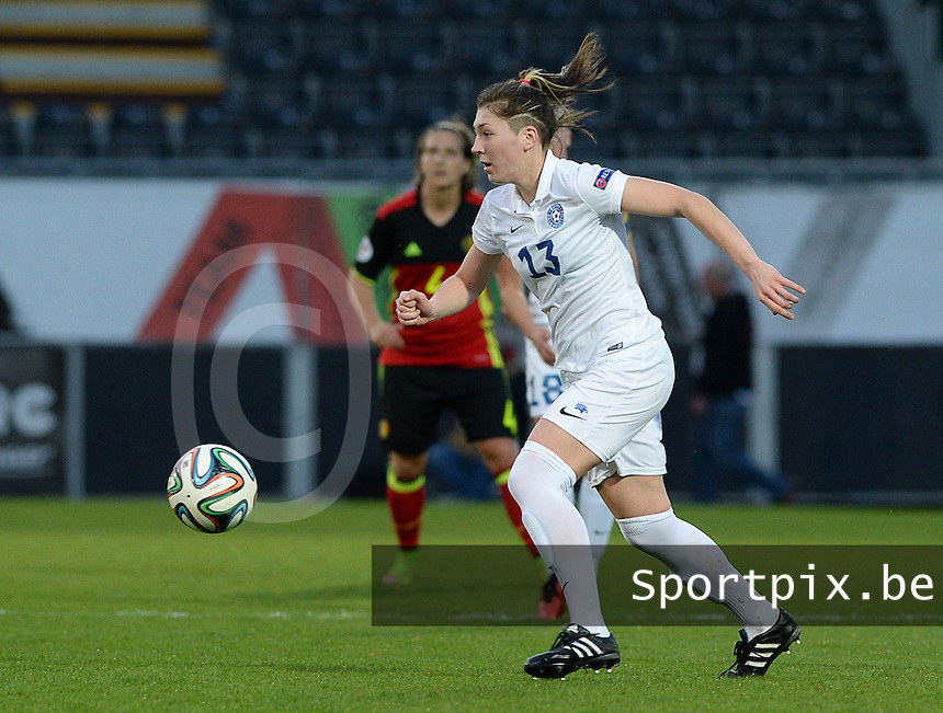 20160412 - LEUVEN ,  BELGIUM : Estonian Vlada Kubassova pictured during the female soccer game between the Belgian Red Flames and Estonia , the fifth game in the qualification for the European Championship in The Netherlands 2017  , Tuesday 12 th April 2016 at Stadion Den Dreef  in Leuven , Belgium. PHOTO SPORTPIX.BE / DAVID CATRY