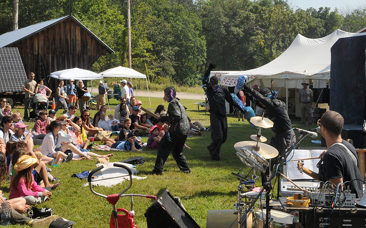 """Overview of audience watching the ARM-of-the-SEA Theater performing """"DIRT:THE SECRET LIFE OF SOIL,"""" at the Fifth Annual SUMMER HOOT Festival, held at the Ashokan Center, Olivebridge, NY, on Sunday, August 27, 2017. Photo by Jim Peppler. Copyright/Jim Peppler-2017."""