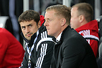 (L-R) Josep Pep Clotet and Swansea manager Garry Monk before the Barclays Premier League match between Swansea City and Leicester City at the Liberty Stadium, Swansea on December 05 2015