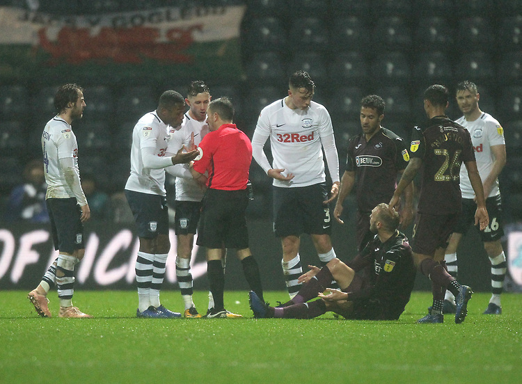 Preston North End's Josh Earl is sent off by Keith Stroud<br /> <br /> Photographer Mick Walker/CameraSport<br /> <br /> The EFL Sky Bet Championship - Preston North End v Swansea City - Saturday 12th January 2019 - Deepdale Stadium - Preston<br /> <br /> World Copyright &copy; 2019 CameraSport. All rights reserved. 43 Linden Ave. Countesthorpe. Leicester. England. LE8 5PG - Tel: +44 (0) 116 277 4147 - admin@camerasport.com - www.camerasport.com