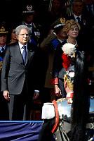 Roma, 2 Giugno 2017<br /> Roberta Pinotti, Sergio Mattarella in tribuna d'0nore durante la parata militare<br /> 71&deg;anniversario Festa della Repubblica