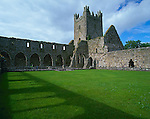 County Kilkenny, Ireland<br /> Cloister and church towers and church tower of Jerpoint Cistercian Abbey (11th-15th centuries)