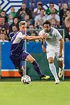 12.10.2018, Stadion an der Bremen Bruecke, Osnabrueck, GER, FSP, 1.FBL, VfL Osnabrueck vs Werder Bremen<br /> <br /> DFL REGULATIONS PROHIBIT ANY USE OF PHOTOGRAPHS AS IMAGE SEQUENCES AND/OR QUASI-VIDEO.<br /> <br /> im Bild / picture shows<br /> Steffen Tigges (VfL Osnabrueck #19) im Duell / im Zweikampf mit Claudio Pizarro (Werder Bremen #04), <br /> <br /> Foto © nordphoto / Ewert