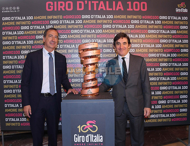 Milan's Mayor Giuseppe Sala and RCS Media Group CEO Urbano Cairo in Milan's Galleria Vittoria Emanuele at the launch of the Giro d'Italia 2017. Milan, Italy. 20th April 2017.<br /> Picture: LaPresse | Cyclefile<br /> <br /> <br /> All photos usage must carry mandatory copyright credit (&copy; Cyclefile | LaPresse)
