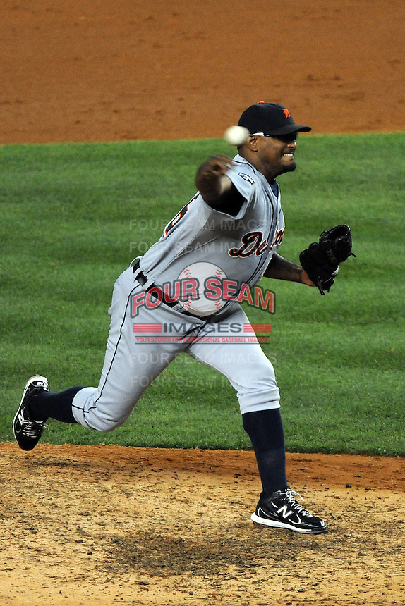 Detroit Tigers pitcher Jose Valverde #46 during ALDS game #5 against the New York Yankees at Yankee Stadium on October 06, 2011 in Bronx, NY.  Detroit defeated New York 3-2 to take the series 3 games to 2 games.  Tomasso DeRosa/Four Seam Images