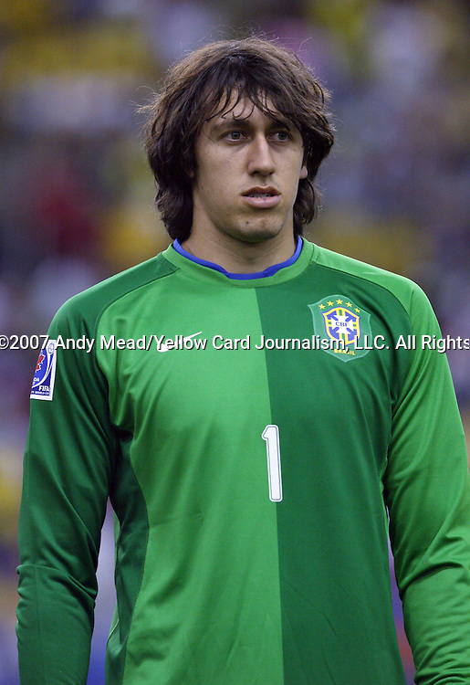30 June 2007: Brazil's Cassio. At Le Stade Olympique in Montreal, Quebec, Canada. Poland's Under-20 Men's National Team defeated Brazil's Under-20 Men's National Team 1-0 in a Group D opening round match during the FIFA U-20 World Cup Canada 2007 tournament.
