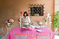 Designer cook Maddalena Caruso lays a table on the terrace