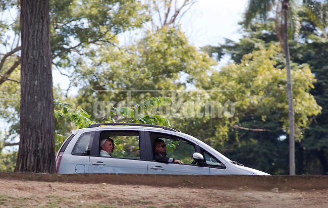 Pope Francis on board a car leave the Boa Vista residence Rio de Janeiro, Brazil