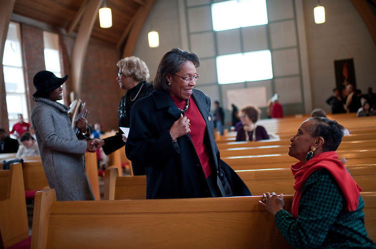 UNITED STATES - FEBRUARY 12:  Rep. Marcia Fudge, D-Ohio, center, greets Susie Rivers, before a Sunday service at Mt. Zion Congregational Church in Cleveland, Ohio. (Photo By Tom Williams/CQ Roll Call)
