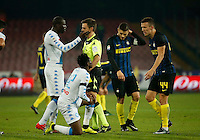 during the  italian serie a soccer match,between SSC Napoli and Inter      at  the San  Paolo   stadium in Naples  Italy , December 02, 2016