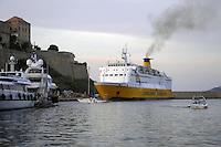 - Corsica, ferry of the Corsica Ferries &amp; Sardinia Ferries company enter the port of Calvi<br /> <br /> - Corsica, traghetto della compagnia Corsica Ferryes &amp; Sardinia Ferries entra nel porto di Calvi