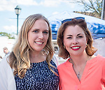 Merrick, New York, USA. September 9, 2017.  L-R, SUE MOLLER, of Merrick, Democratic candidate for Town of Hempstead Council District 6, and Town of Hempstead Councilwoman ERIN KING SWEENEY (Republican - District 5) of Wantagh, running for re-election, pause chatting to pose for photo at Merrick Fall Festival and Street Fair.