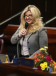 Nevada Assemblywoman Michele Fiore, R-Las Vegas, speaks on the Assembly floor at the Legislative Building in Carson City, Nev., on Friday, Feb. 13, 2015. <br /> Photo by Cathleen Allison