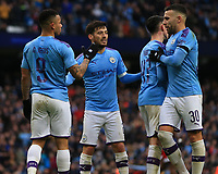 26th January 2020; Etihad Stadium, Manchester, Lancashire, England; English FA Cup Football, Manchester City versus Fulham; Gabriel Jesus of Manchester City lcelebrates with his team mates after scoring to give his team a 3-0 lead